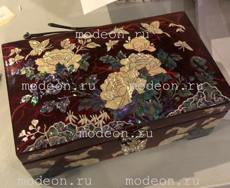 Перламутровая шкатулка Пионы и бабочки-1.