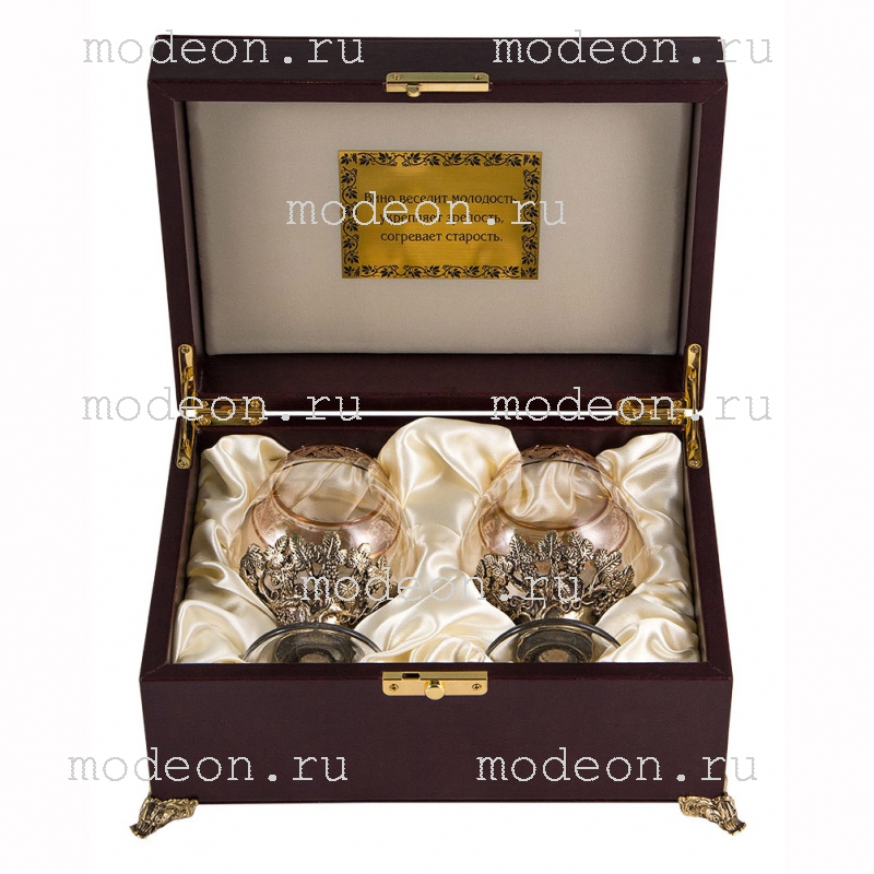 Набор из 2 бокалов для бренди Богемия Флорис, ларец