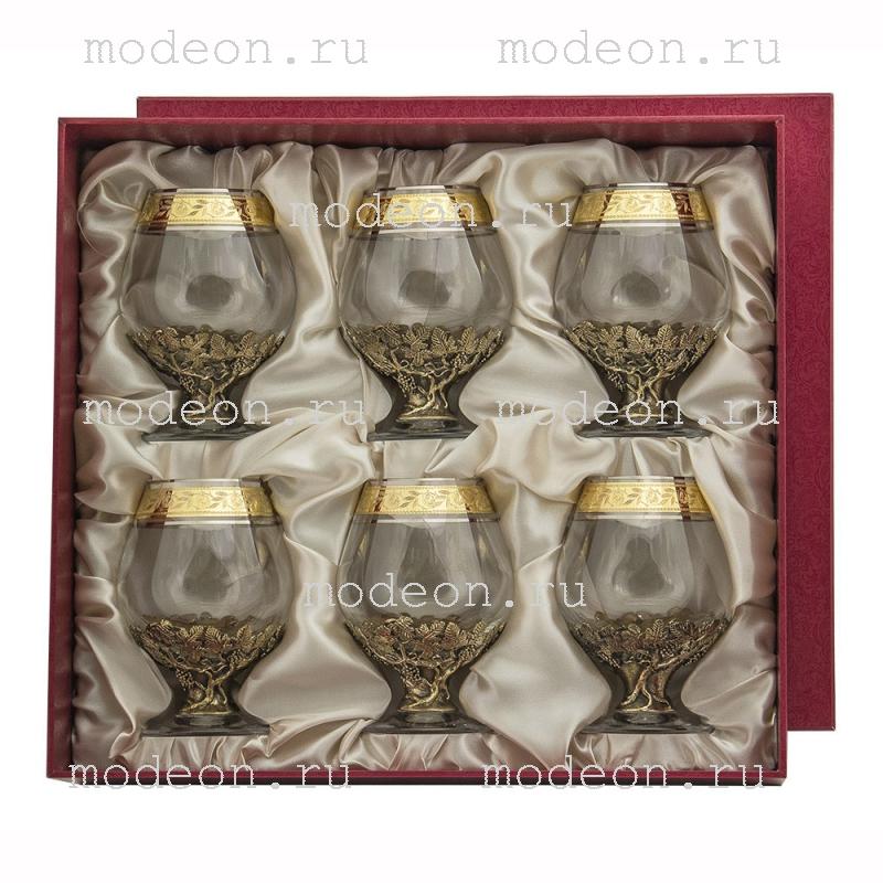Набор из 6 бокалов для бренди Богемия Флорис, в коробке
