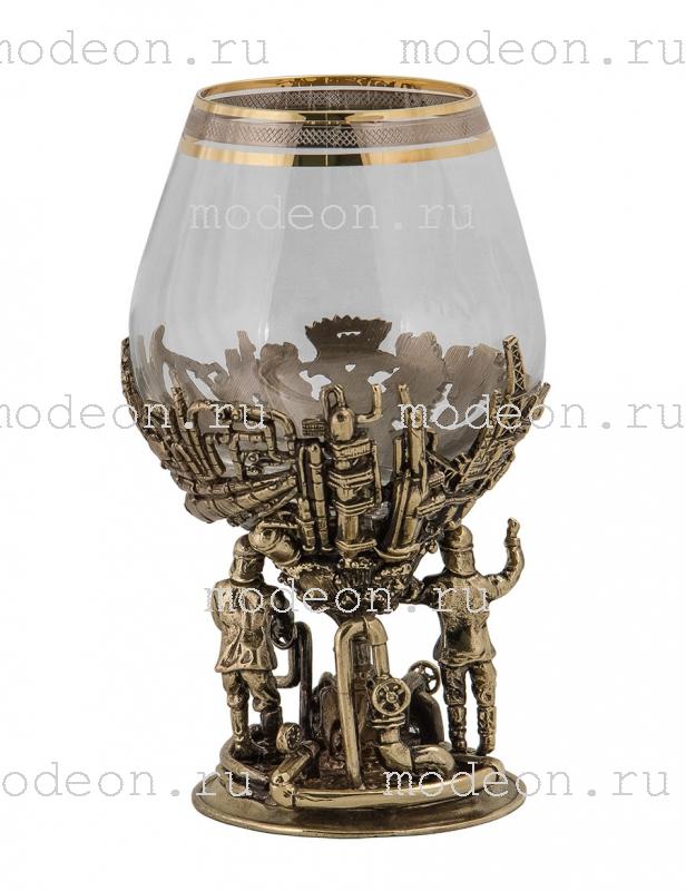 Набор из 2 бокалов для бренди Газ и нефть, богемия-сеточка, в лареце