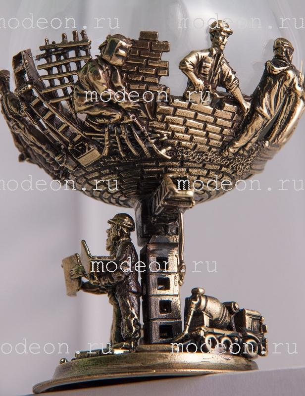 Бокал для бренди Строители, богемия-сеточка в кожаном футляре