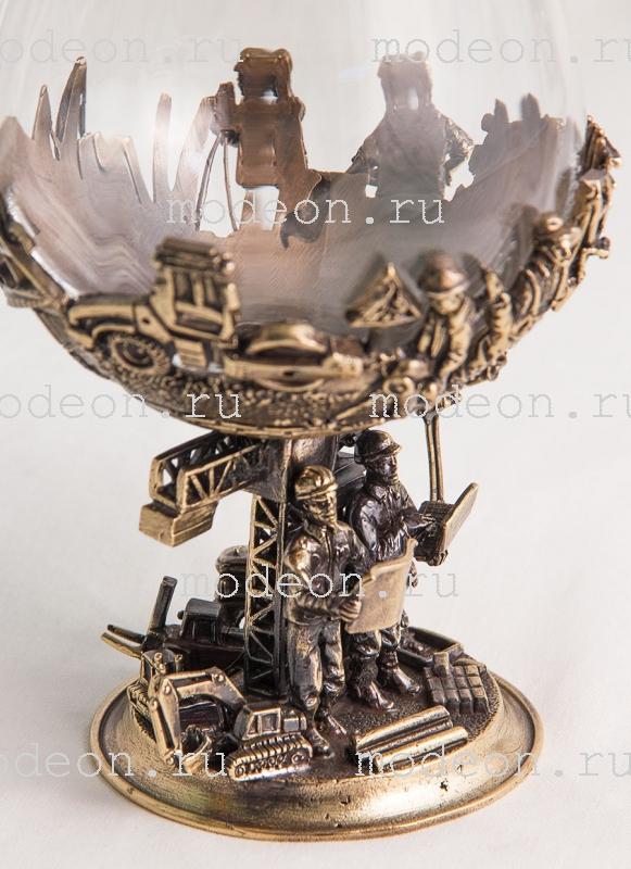 Набор из 2 бокалов для бренди Строители, богемия-сеточка, в лареце