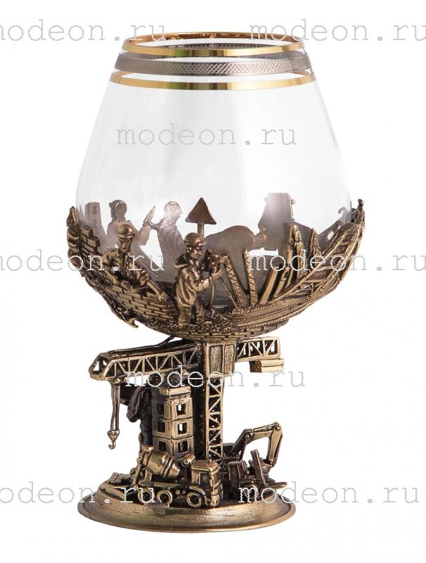 Набор из 6 бокалов для бренди Строители, богемия-сеточка, в лареце