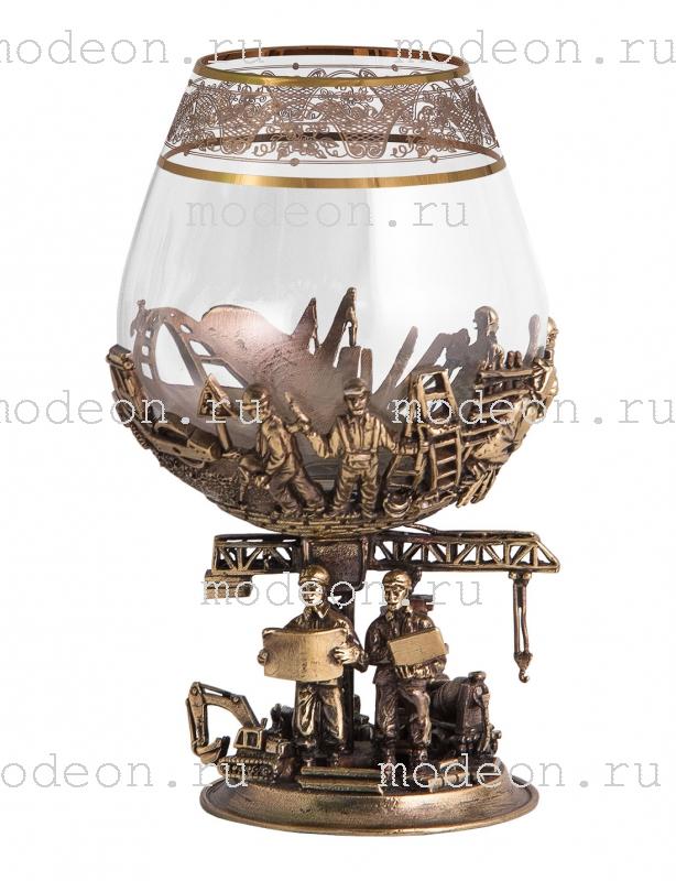 Набор из 2 бокалов для бренди Строители, богемия-флорис, в лареце
