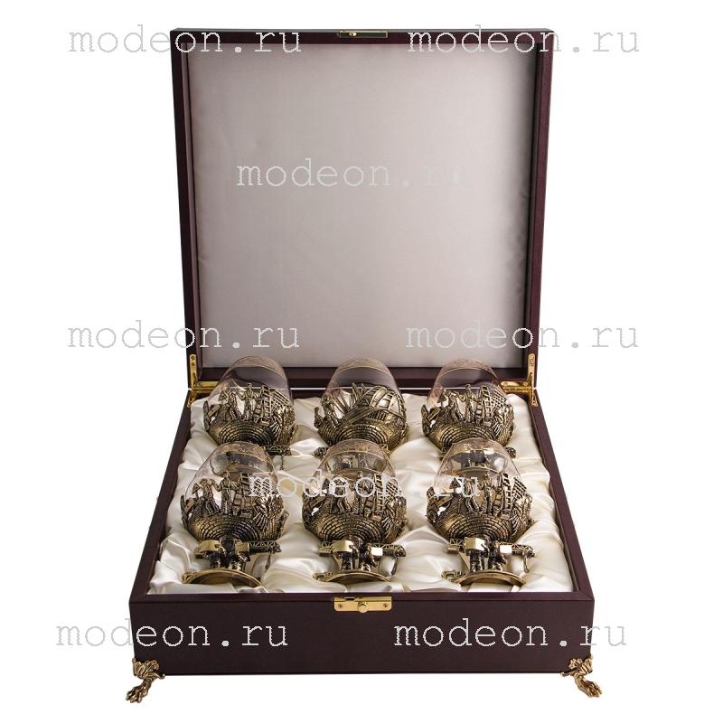 Набор из 6 бокалов для бренди Строители, богемия-флорис, в лареце