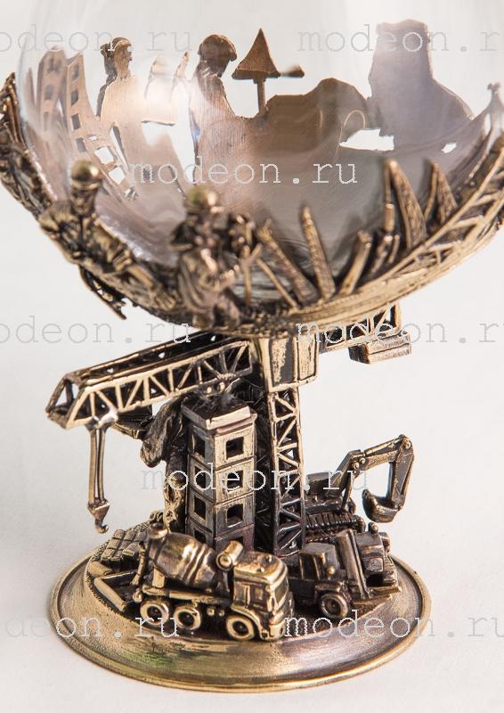 Бокал для бренди Строители, богемия-оптика в кожаном футляре