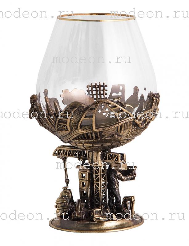 Набор из 2 бокалов для бренди Строители, богемия-оптика, в лареце