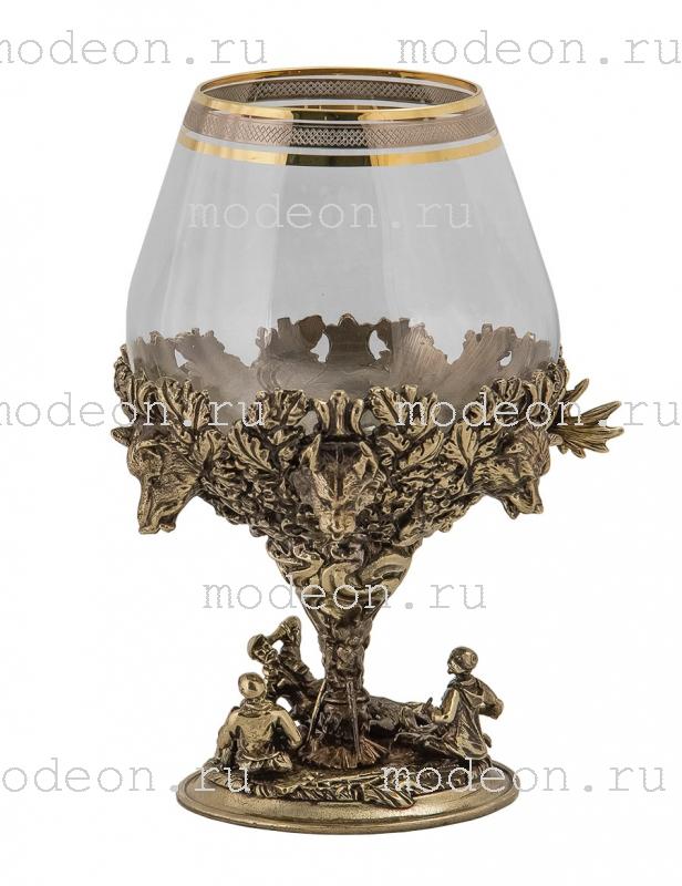 Набор из 2 бокалов для бренди Охота, богемия-сеточка, в лареце