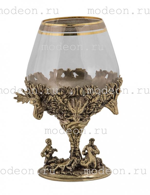 Набор из 6 бокалов для бренди Охота, богемия-сеточка, в лареце