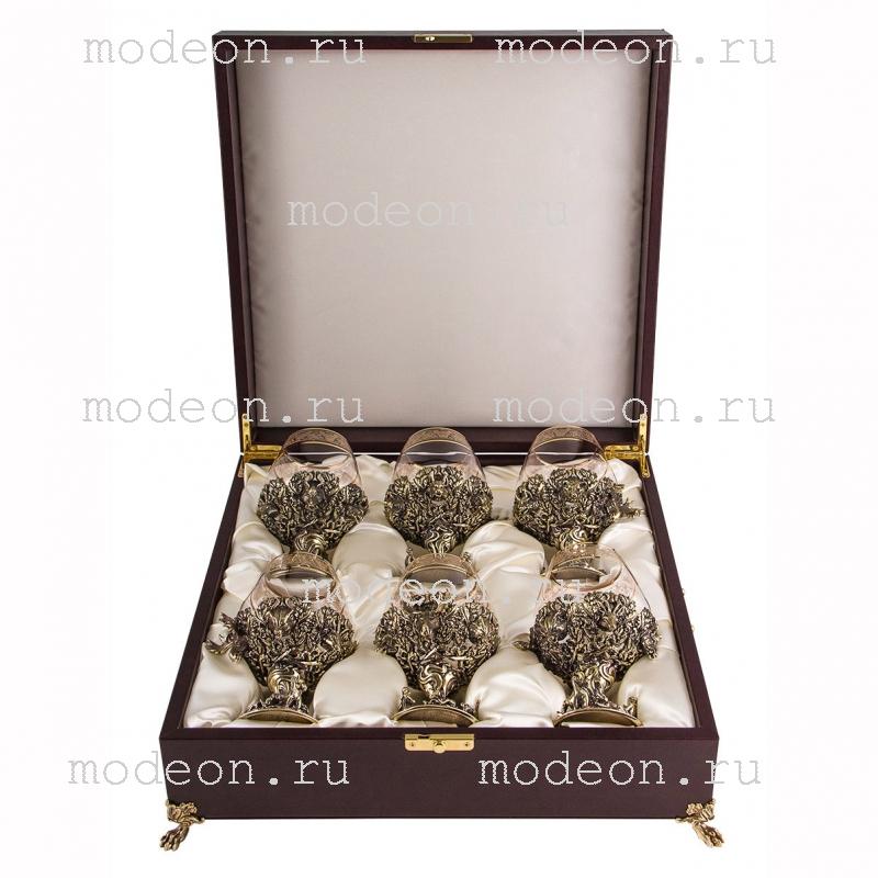 Набор из 6 бокалов для бренди Охота, богемия-флорис, в лареце