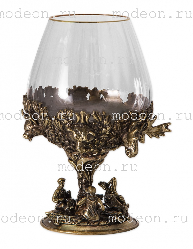 Набор из 6 бокалов для бренди Охота, богемия-оптика, в лареце
