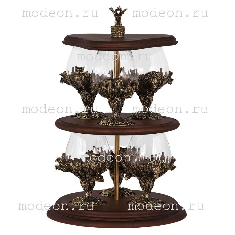 Набор из 6 бокалов на этажерке Княжеский, богемия - оптика