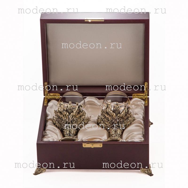 Набор из 2 бокалов для бренди Княжеский, богемия-сеточка, в лареце