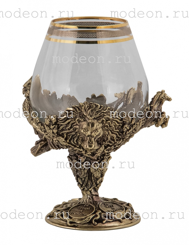 Набор из 6 бокалов для бренди Княжеский, богемия-сеточка, в лареце