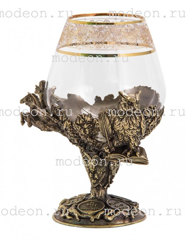 Бокал для бренди Княжеский, богемия-флорис в кожаном футляре