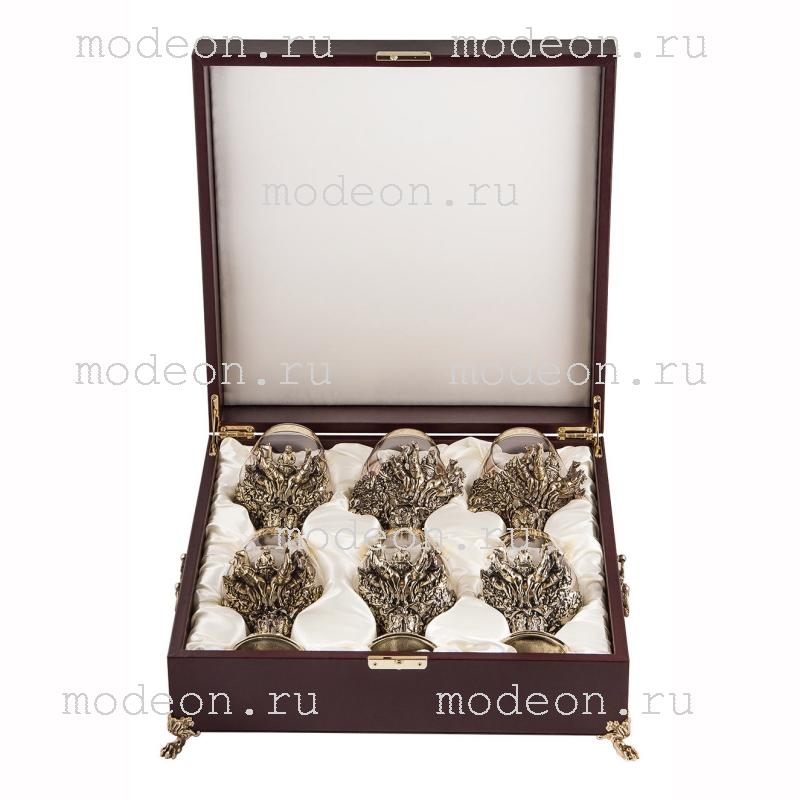Набор из 6 бокалов для бренди Княжеский, богемия-флорис, в лареце