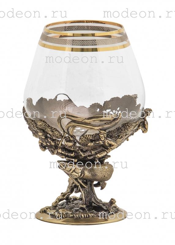 Набор из 6 бокалов для бренди Рыбалка, богемия-сеточка, в лареце