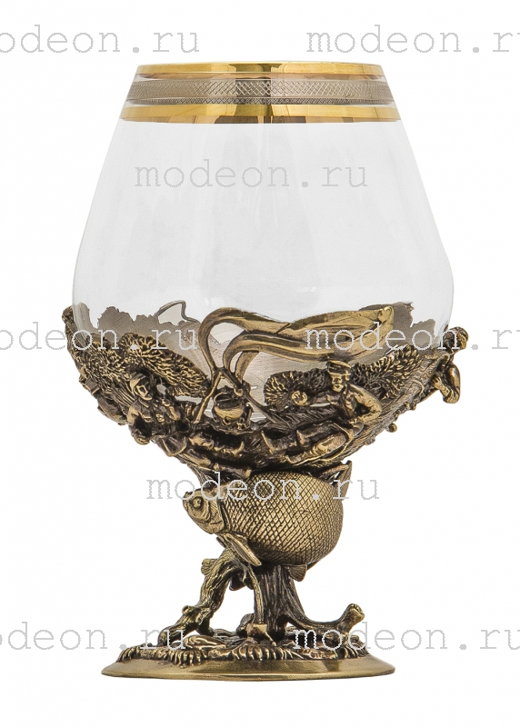 Набор из 6 бокалов на этажерке Рыбалка, богемия - сеточка