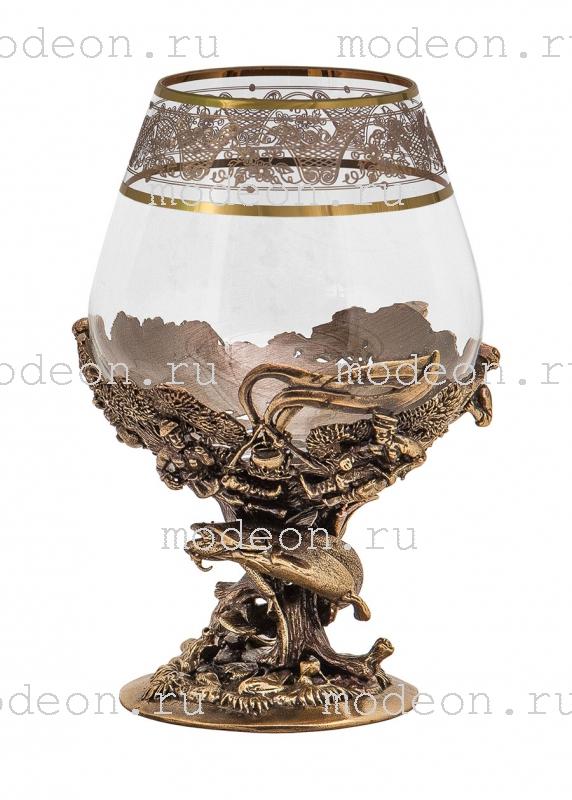 Набор из 6 бокалов для бренди Рыбалка, богемия-флорис, в лареце