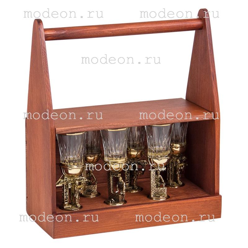 Набор из 6 стопок Строительные, в деревянном ящике
