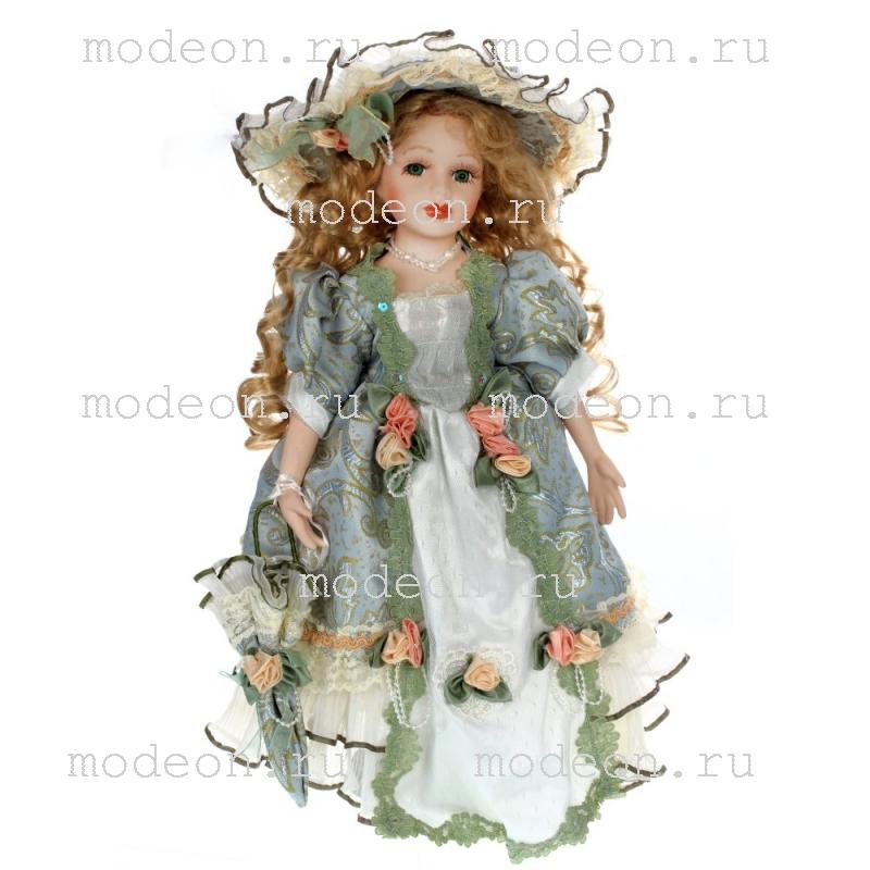 Фарфоровая кукла с зонтиком Светлана, 40см