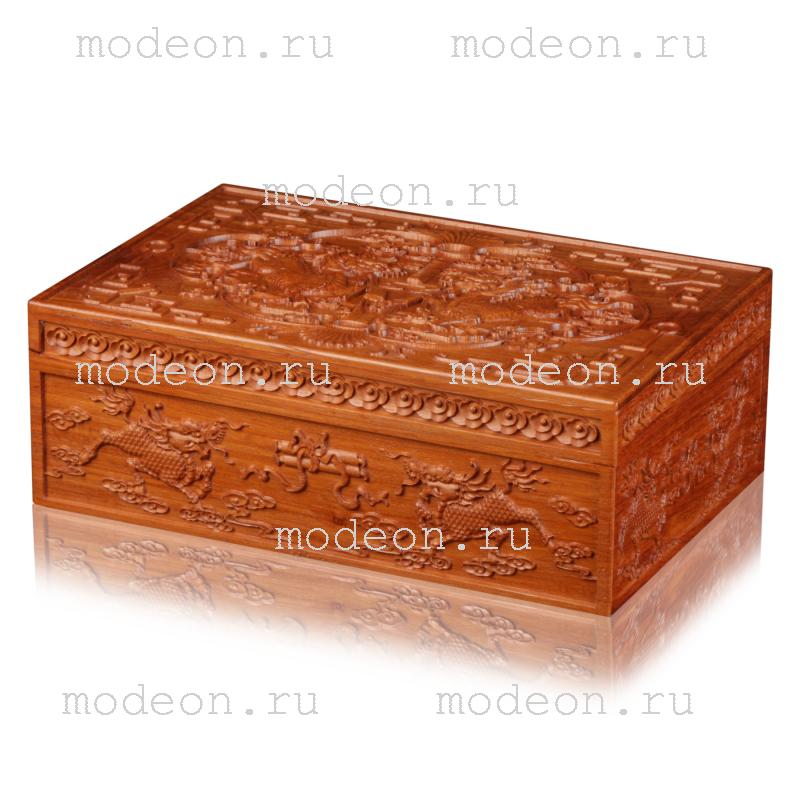 Резная деревянная шкатулка Драконы и свиток