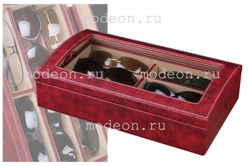 Панорамная шкатулка для 6 очков Питон, бордовая