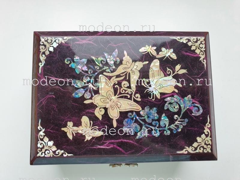 Шкатулка для украшений Семь бабочек, фиолетовая