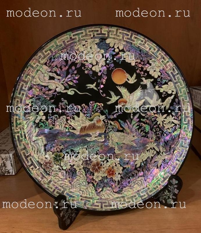 Тарелка инкрустированная перламутром Птичья вечеринка