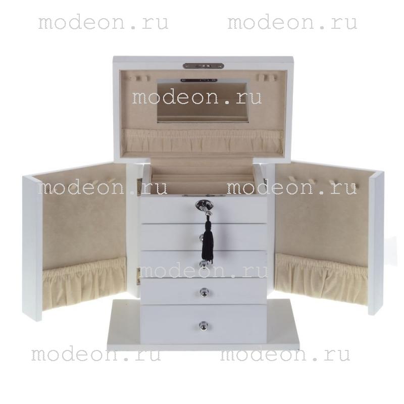 Деревянная шкатулка для украшений Прима, белая