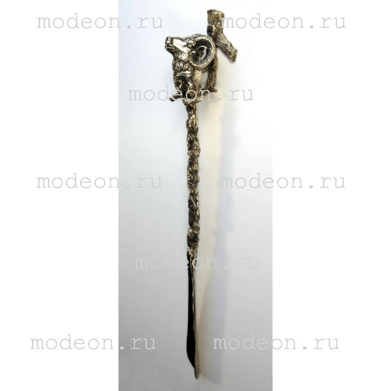 Латунная ложка для обуви Баран с держателем