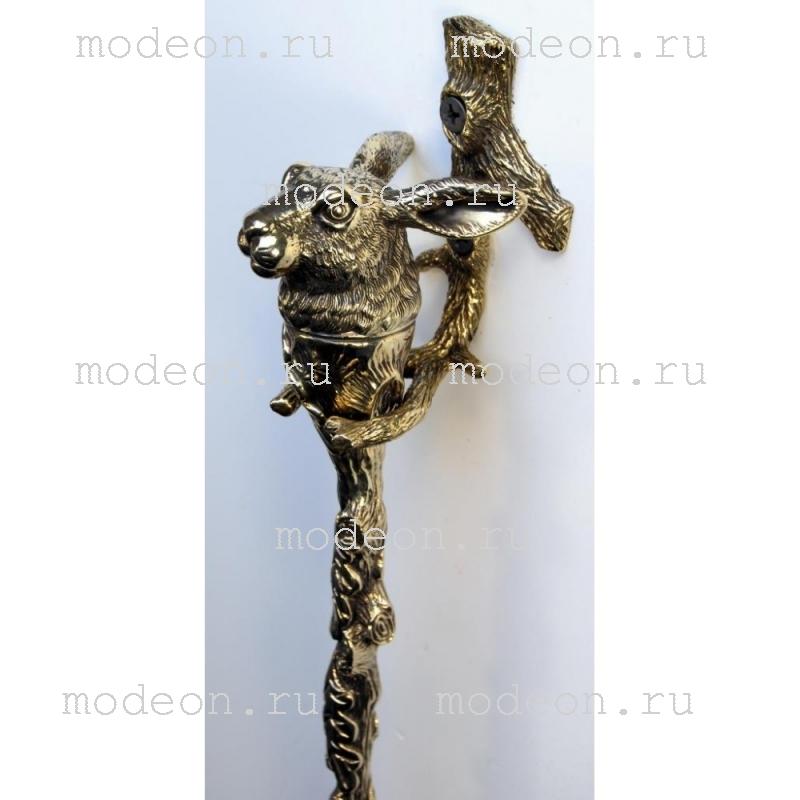 Латунная ложка для обуви Заяц с держателем