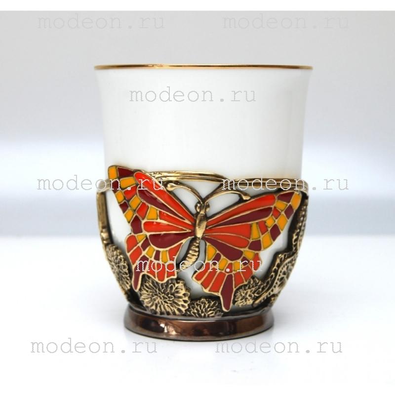 Чашка фарфоровая в подстаканнике Бабочки