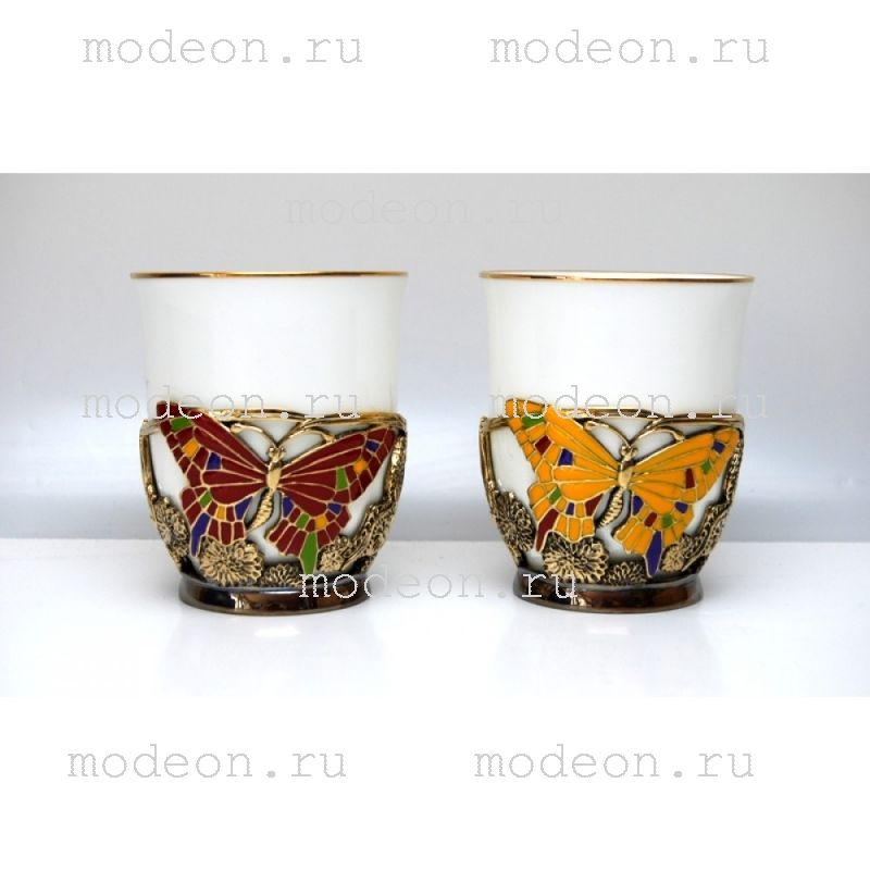 Фарфоровая чайная пара в подстаканнике Бабочки