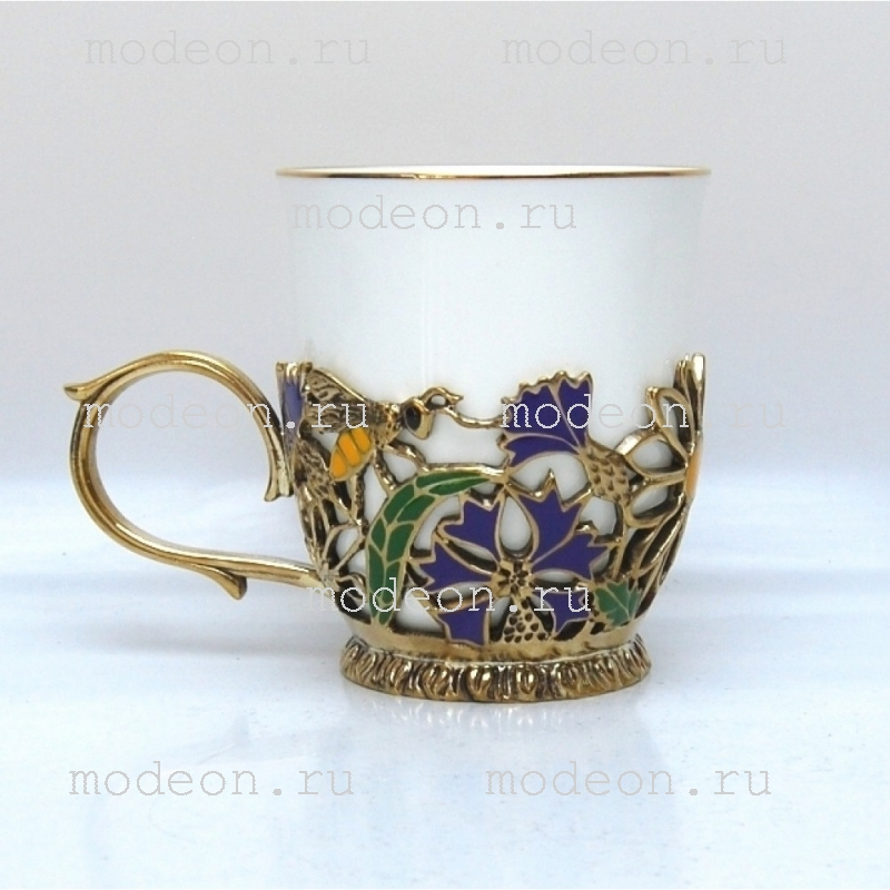 Чашка фарфоровая в подстаканнике Полевые цветы