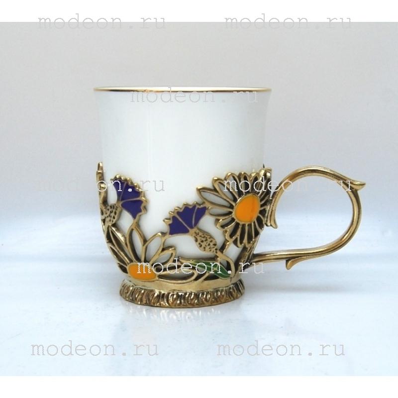 Фарфоровая чайная пара в подстаканнике Полевые цветы