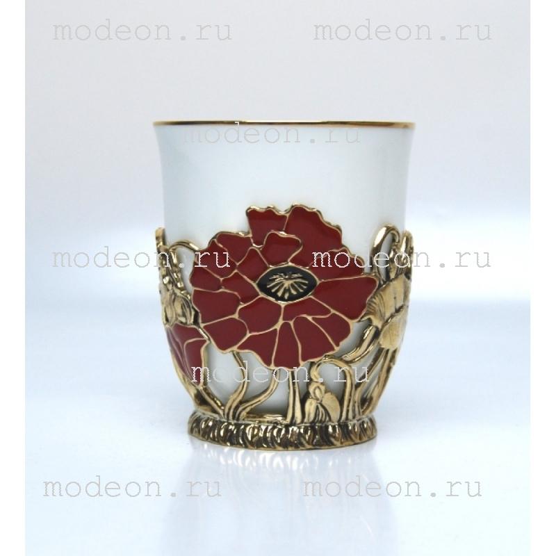 Чашка фарфоровая в подстаканнике Маки