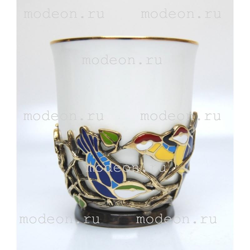 Чашка фарфоровая в подстаканнике Птицы