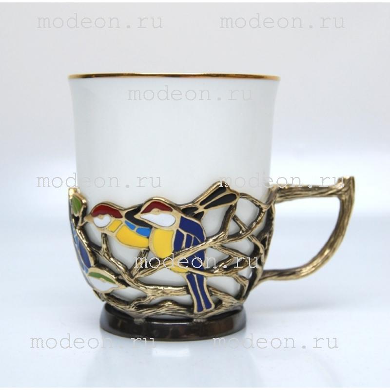 Фарфоровая чайная пара в подстаканнике Птицы