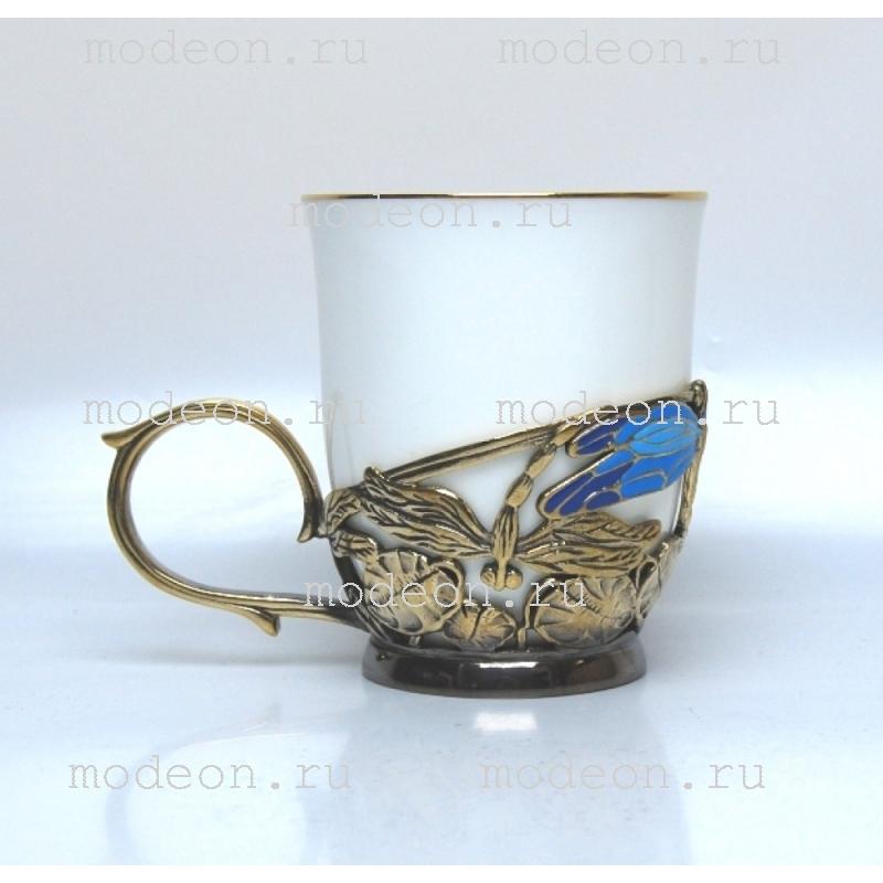 Чашка фарфоровая в подстаканнике Стрекозы