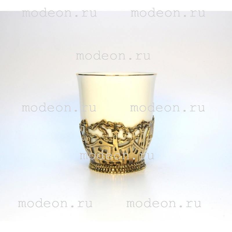 Чашка фарфоровая в подстаканнике Город
