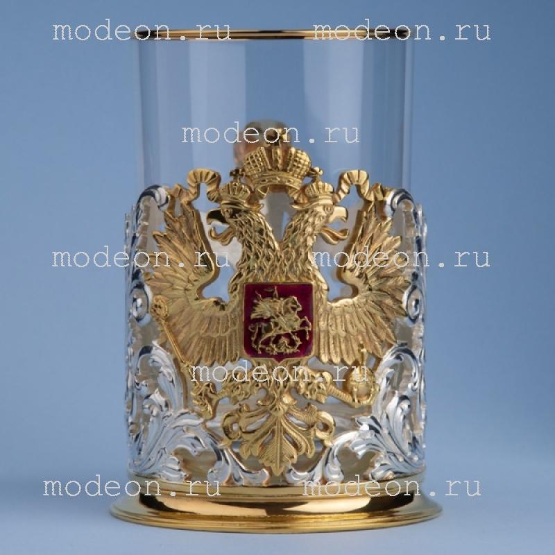 Подстаканник Герб орнаментальный с позолочением и посеребрением