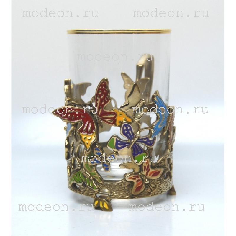 Подстаканник с эмалью Бабочки