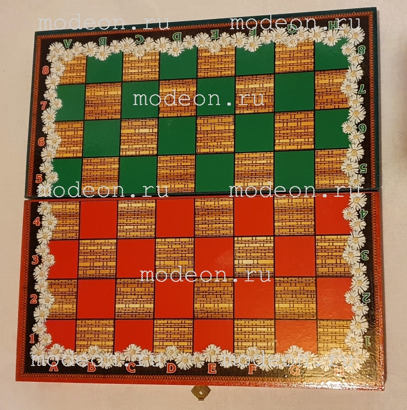 Шахматы Русские матрешки, зеленые