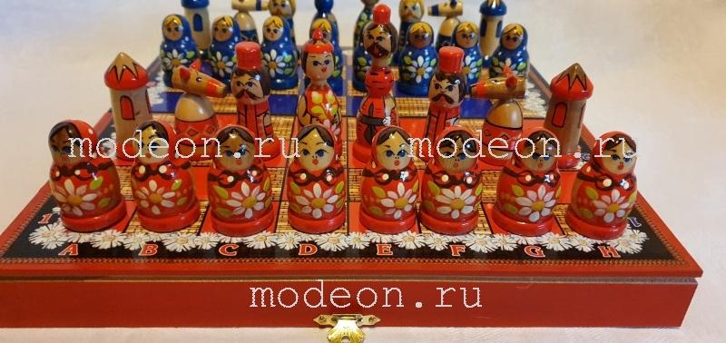 Шахматы Русские матрешки, синие