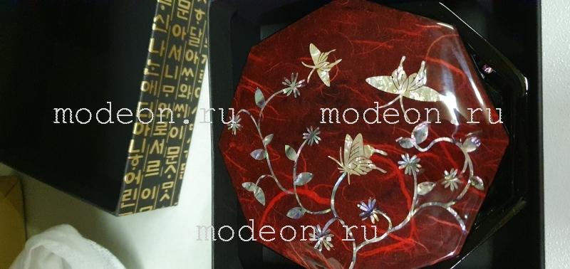 Перламутровая шкатулка Бабочки, восьмиугольная