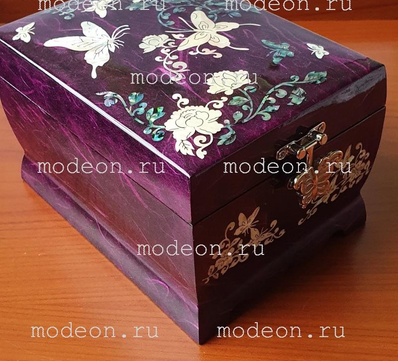 Музыкальная шкатулка Бабочки и цветы, фиолетовая