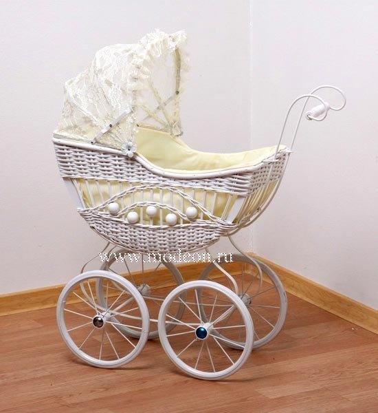 Плетеная ретро-коляска для куклы Белый лебедь, h-60см.
