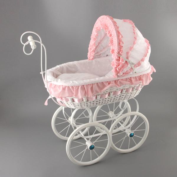 Плетеная ретро коляска для куклы Милена, hr-61см