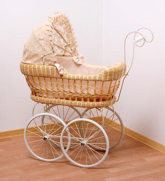Большая плетеная коляска для куклы Классика, hr-76см